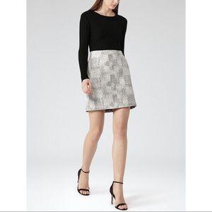 Reiss Vivienne Jacquard Mini Skirt Black and White